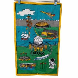 """Vintage """"Vancouver Expo 86""""  Linen Tapestry"""
